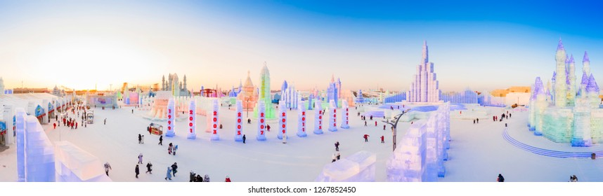 Harbin, China - December 26, 2018: Harbin Ice and Snow World. People are visiting. Located in Harbin City, Heilongjiang Province, China.