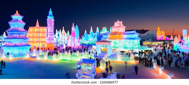 Harbin, China - December 28, 2018: Harbin Ice and Snow World. People are visiting. Located in Harbin, Heilongjiang, China.