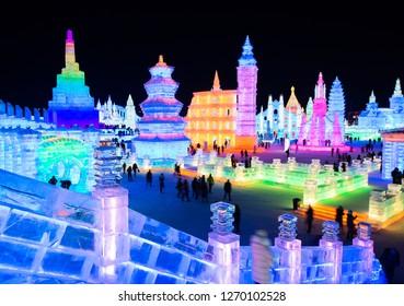 Harbin, China - December 29, 2018: Harbin Ice and Snow World. Located in Harbin, Heilongjiang, China.