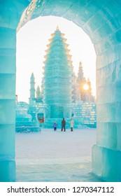 Harbin, China - December 30, 2018: Ice building. Harbin Ice and Snow World. Located in Harbin, Heilongjiang, China.