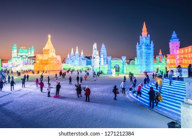Harbin, China - December 31, 2018: Ice building. Harbin Ice and Snow World. Located in Harbin, Heilongjiang, China.