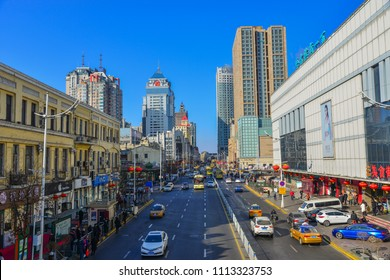 Harbin, China - Feb 22, 2018. Street of downtown in Harbin, China. Harbin is largest city in the northeastern region of China.
