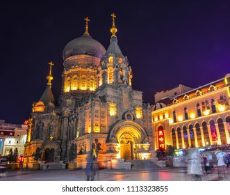 Harbin, China - Feb 26, 2018. View of Saint Sophia Cathedral at night in Harbin, China. The church was built in 1907 after the completion of the Trans-Siberian Railway.