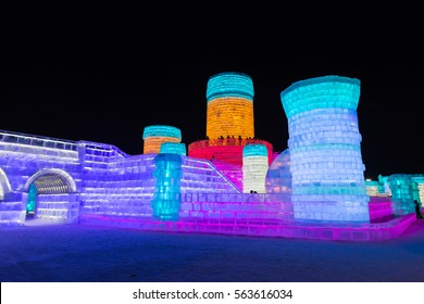 HARBIN, CHINA - JAN 03, 2017: Harbin International Ice and Snow Sculpture Festival is an annual winter festival that takes place in Harbin. It is the largest ice and snow festival in the world.