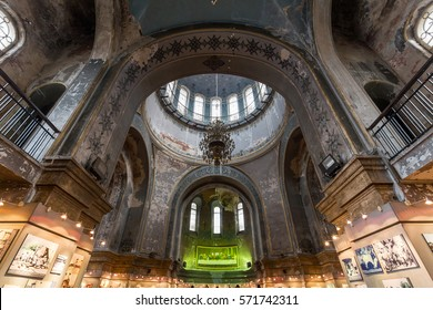 HARBIN, CHINA - JAN 03, 2017: Interior of Saint Sophia Cathedral in the central district of Daoli, Harbin City, China. It is the perfect example of Neo-Byzantine architecture.