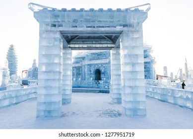 HARBIN, CHINA - JAN 2, 2019: Harbin International Ice and Snow Sculpture Festival is an annual winter festival that takes place in Harbin. It is the world largest ice and snow festival.
