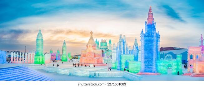 Harbin, China - January 1, 2019: Ice building. Harbin Ice and Snow World. Located in Harbin, Heilongjiang, China.