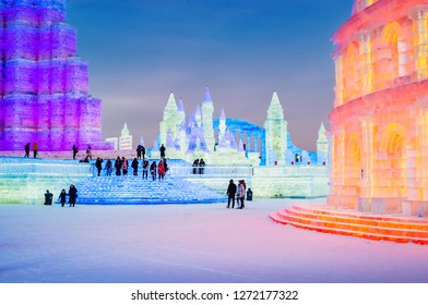 Harbin, China - January 1, 2019: Ice building. Harbin Ice and Snow World. People are visiting. Located in Harbin, Heilongjiang, China.