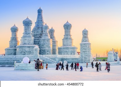 Harbin, China - January 11, 2016: Ice building in The 17th Harbin China Ice and Snow World. People are visiting. Located in Harbin City, Heilongjiang Province, China.