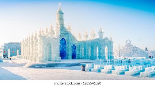 Harbin, China - January 15, 2019: Ice building. China Harbin Ice and Snow World. Located in Harbin, Heilongjiang, China.