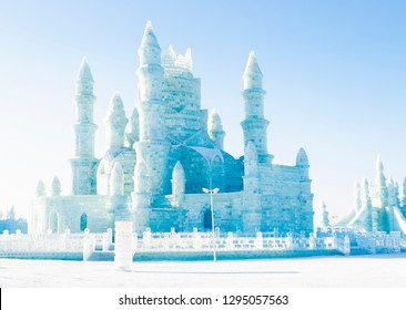 Harbin, China - January 15, 2019: Ice building. Harbin International Ice and Snow Sculpture Festival. Located in China Harbin Ice and Snow World, Harbin, Heilongjiang, China.