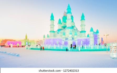 Harbin, China - January 2, 2019: Ice building. China Harbin Ice and Snow World. Located in Harbin, Heilongjiang, China.