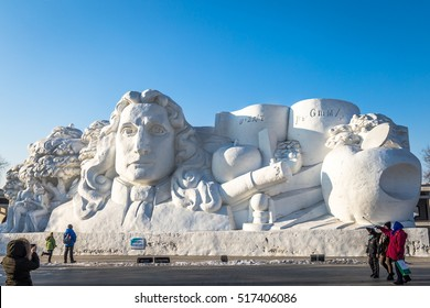 Harbin, China - January 2015: Isaac Newton inspired Snow sculpture in the 27th China Harbin Sun Island International Snow Sculpture Art Expo. Located in Harbin City, Heilongjiang, China.