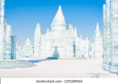 Harbin, China - January 22, 2019: Ice building. Harbin International Ice and Snow Festival. Located in China Harbin Ice and Snow World, Harbin, Heilongjiang, China.