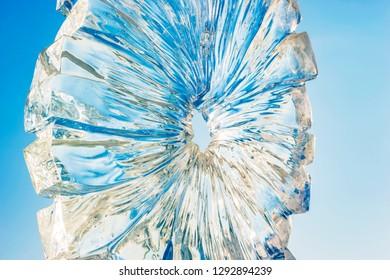 Harbin, China - January 22, 2019: Ice sculpture. China Harbin Ice and Snow World. Located in Harbin, Heilongjiang, China.