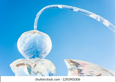 Harbin, China - January 23, 2019: Ice sculpture. Harbin International Ice and Snow Festival. Located in China Harbin Ice and Snow World, Harbin, Heilongjiang, China.
