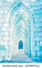 Harbin, China - January 23, 2019: Ice building. Harbin International Ice and Snow Festival. Located in China Harbin Ice and Snow World, Harbin, Heilongjiang, China.
