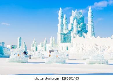 Harbin, China - January 23, 2019: Ice building and ice sculpture. Harbin International Ice and Snow Festival. Located in China Harbin Ice and Snow World, Harbin, Heilongjiang, China.