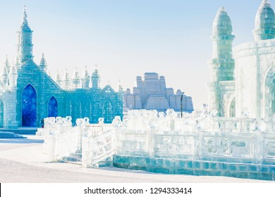 Harbin, China - January 23, 2019: Ice building. Harbin International Ice and Snow Sculpture Festival. Located in China Harbin Ice and Snow World, Harbin, Heilongjiang, China.