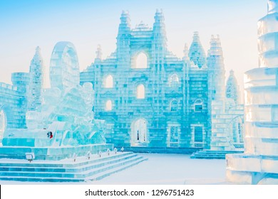 Harbin, China - January 27, 2019: Ice building. Harbin International Ice and Snow Sculpture Festival. Located in China Harbin Ice and Snow World, Harbin, Heilongjiang, China.