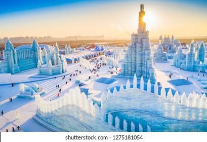 Harbin, China - January 5, 2019: Ice building. China Harbin Ice and Snow World. Located in Harbin, Heilongjiang, China.