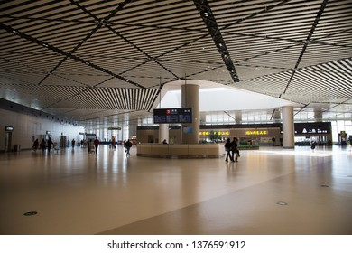 HARBIN, CHINA, OCTOBER 4, 2018: interior of Harbin airport