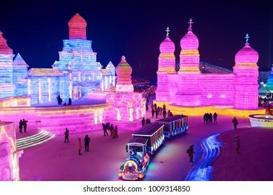 Harbin China.December 28th 2017.The 19th Harbin ice and snow world.