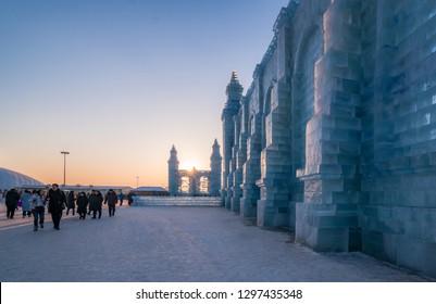 Harbin, Heilongjiang, China - January 11, 2019: Amazing Ice building in International Ice and Snow Sculpture Festival.  Located in China Harbin Ice and Snow World on sun island in winter
