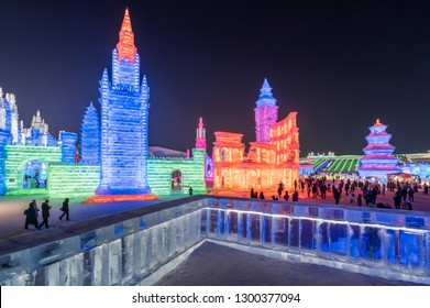 Harbin, Heilongjiang, China - January 11, 2019: Amazing architecture  in International Ice and Snow world Sculpture Festival on sun island in winter that tourists are visiting.