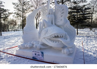 HARBIN, PEOPLE'S REPUBLIC OF CHINA - DECEMBER 27: Snow sculpture at the 2014 Harbin Snow and Ice Festival shown on December 27, 2013 in Harbin, People's Republic of China.