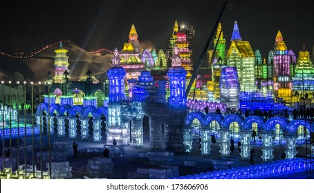 HARBIN, PEOPLE'S REPUBLIC OF CHINA - DECEMBER 27: Ice Sculptures at the 2014 Harbin Snow and Ice Festival shown on December 27, 2013 in Harbin, People's Republic of China.