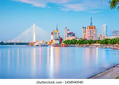 Harbin skyline and Songhua River. Located in Harbin, Heilongjiang, China.