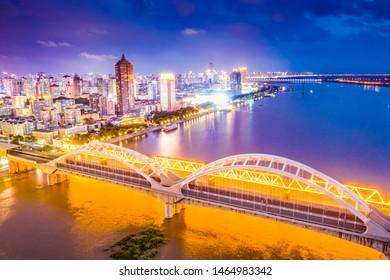 Harbin skyline. Harbin Songhua River Railway Bridge. Located in Harbin, Heilongjiang, China.