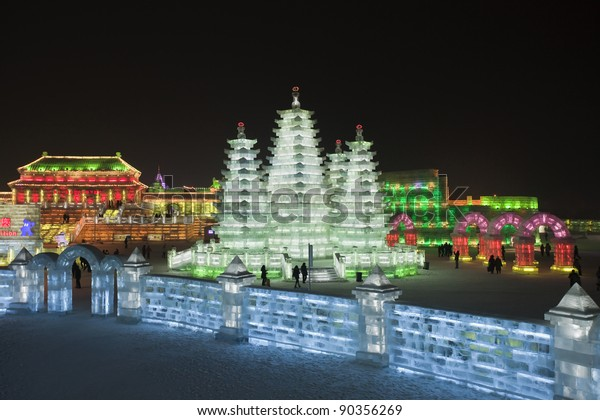 HARBIN-CHINA, JAN. 17:. Illuminated buildings of ice blocks at Harbin Ice Sculpture Festival. It is one of the world's largest Ice festivals and has been held since 1963. Harbin, Jan. 17, 2010.