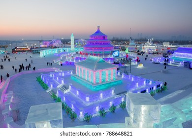 """HARBIN,CHINA - JANUARY 5,2018 :OFFICIAL OPENING 19th ICE-SNOW World this year is themed as """"Ice Snow Blooming Garden, Fantastic World"""""""