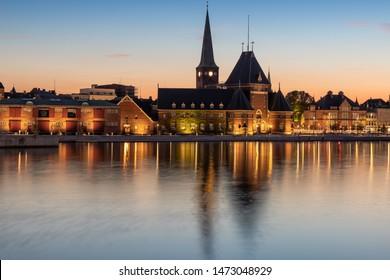 Harbor in Aarhus, Denmark in the blue hour