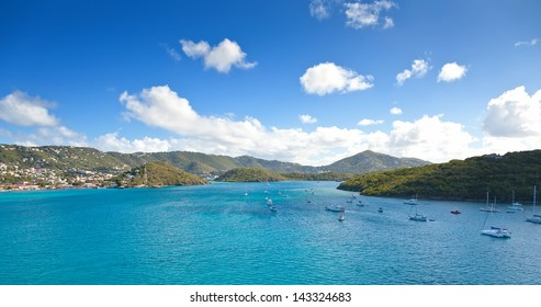 Harbor approaching St. Thomas, USVI in the Caribbean