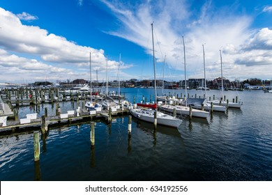 Harbor Area of Annapolis, Maryland on a cloudy spring day with sail boats