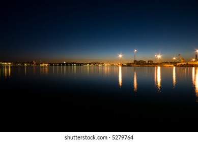 Harbor area of Helsinki during the evening.