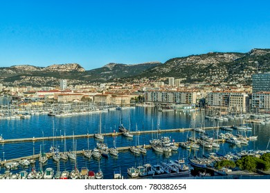 Harbor area in Toulon, France, a large port on the Mediterranean Sea