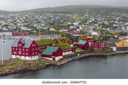 Harbor of capital Torshavn of Faroe islands, summer, 2015
