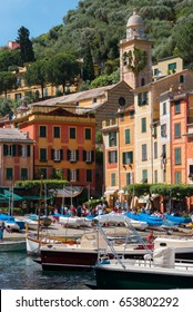 The harbor and church of Portofino near Genoa Italy