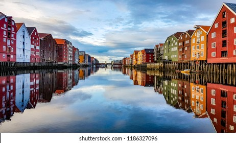 The harbor and city of Trondheim in Norway