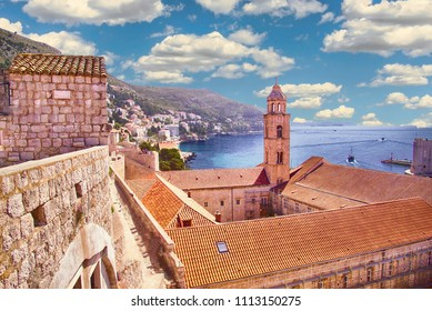 Harbor and city walls of  Dubrovnik, Croatia