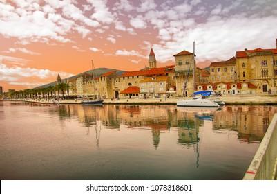 Harbor and city walls of Trogir, Croatia