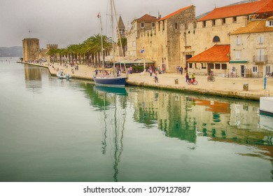 Harbor and city walls of Trogir, Croatia