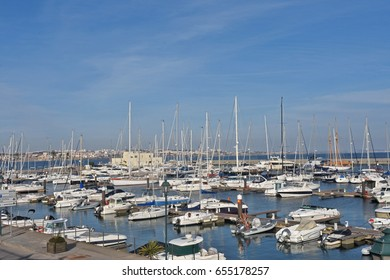 Harbor in the coastal town of Cascais in Portugal,