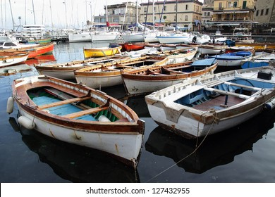 harbor with colorful boats in Naples , Italy