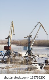 Harbor cranes in the river port city of Samara