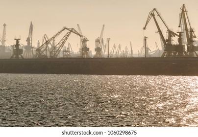 Harbor cranes silhoutes in the Constanta dockyard